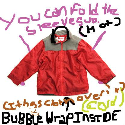 This smart coat has a hood so it keeps rain out.It has bubble rap insulation in the hood and all over the coat so you wont get cold during winter and raining.  if It is hot outside you just roll up your sleeves and pop the bubbles